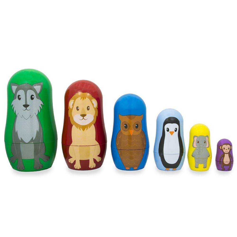 BestPysanky Set of 6 Wolf, Lion, Owl, Penguin Wild Animals Plastic Nesting Dolls 4.5 Inches