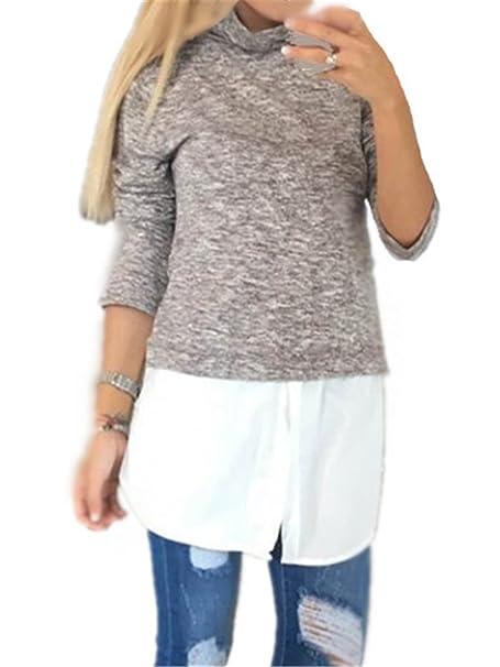 AILIENT Camisetas Cuello Alto Costura Gasa Mujeres De Manga Larga Blusas Casuales T Shirt Outwear Tops