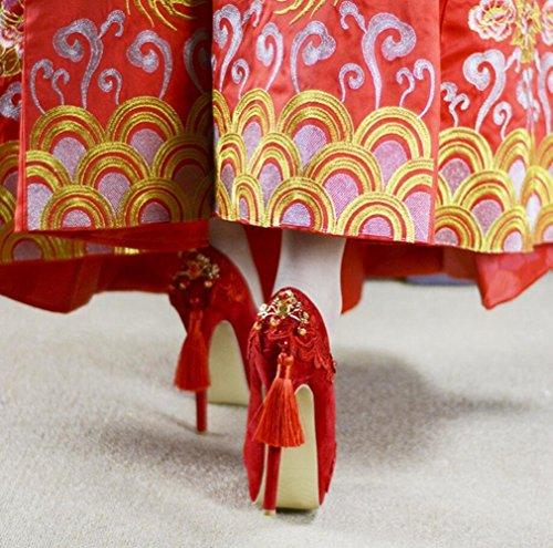 Linyi Størrelse Brodert Blonder Bryllup 8cm Bruden 14cm Rød Stor Stiletthæler Høye Kinesiske Feste Sko Kvinners 11cm rwHS7r