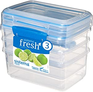 Sistema Fresh Collection 4.2 Cup Food Storage Containers (3 Pack), 33.8 oz, Clear/Marine Blue
