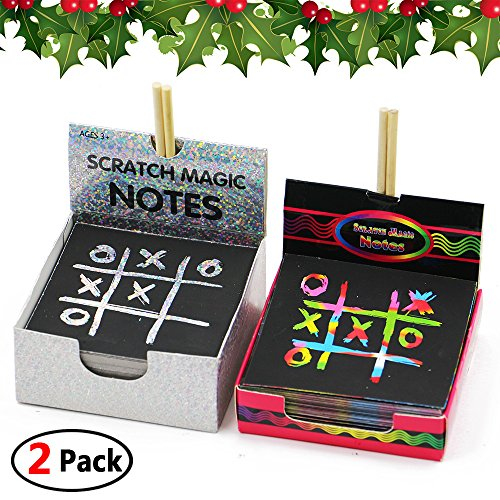 AxPower Two Packs Scratch Pads Art Crafts Notes for Kids, Glitter and Rainbow Art Paper With Wooden Stylus, Doodle Pads 230 Sheets - Scratch Glitter