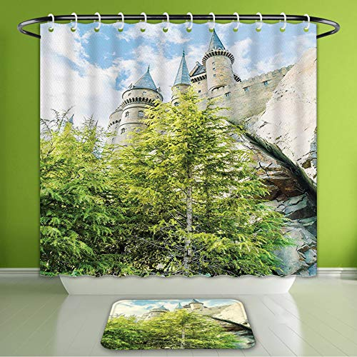 Waterproof Shower Curtain and Bath Rug Set Wizard School of Witchcraft and Castle in Woods and Rocks Sky View Replica in Japan Picture Gre Bath Curtain and Doormat Suit for Bathroom 66