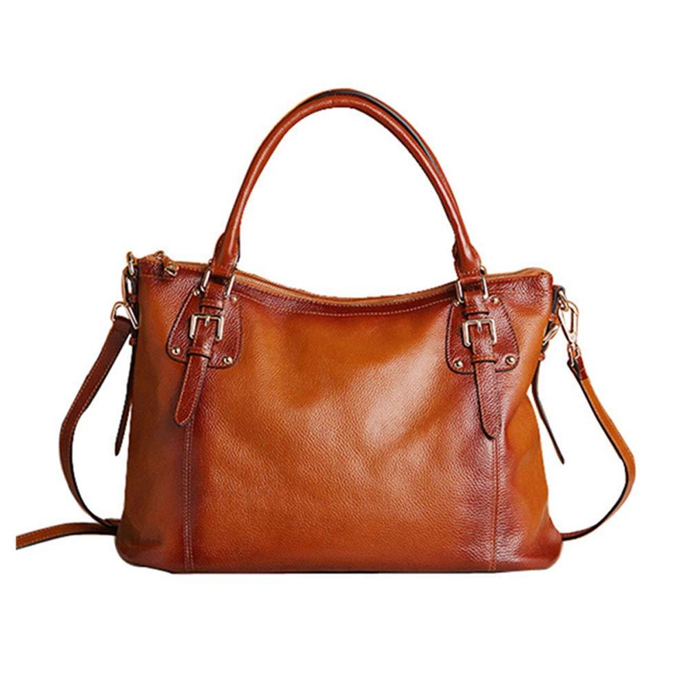 YD ハンドバッグ - 女性のショルダーメッセンジャーバッグソフトレザーヨーロピアンファッションジョーカーカジュアルバッグメザニンジッパーオープニングとクローズ[4色オプション] /& (色 : Brown, サイズ さいず : Large: 40*17*28.5cm) B07PZWGCXC Brown Large: 40*17*28.5cm