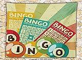 Vintage Decor Fleece Throw Blanket Bingo Game with Ball and Cards Pop Art Stylized Lottery Hobby Celebration Theme Throw Multi