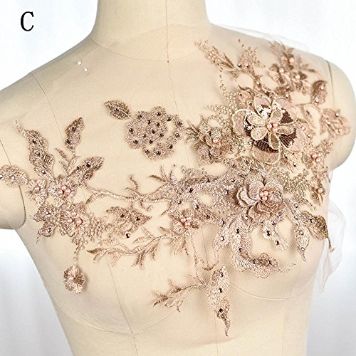 Collar Sequin Beaded Applique (Blossom 3D Flower Applique, Beaded Sequins Flower LACE patch Bridal Wedding Dress Embossed Beading Embroidery lace Appliques Motif Sewing Craft)