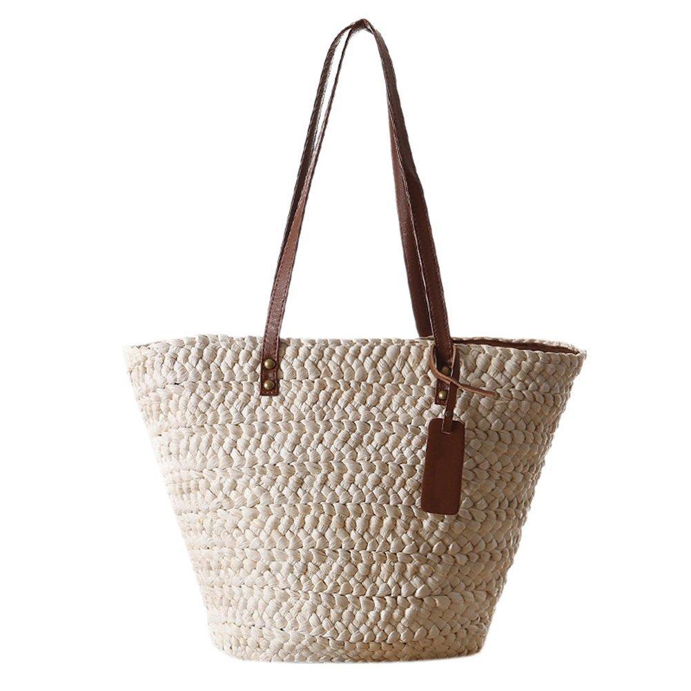 LianLe Summer Straw Woven Beach Bag For Girl Women,Handmade Rattan Handbag Basket Picnic Bag Shoulder bag