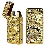 Cigarette Lighter, Pard Dragon Windproof Cross Arc Lighter, USB Rechargeable Flameless Arc Cigarette Lighter, Gold