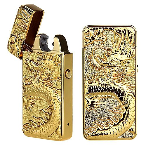 Cigarette Lighter, Pard Dragon Windproof Cross Arc Lighter, USB Rechargeable Flameless Arc Cigarette Lighter, (Gold Lighter)