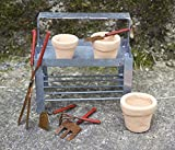 Bundle of 3 Miniature Fairy Gardening Accessories - Mini Potting Bench, S/5 Tiny Hand Tools, and S/3 Miniature Clay Pots