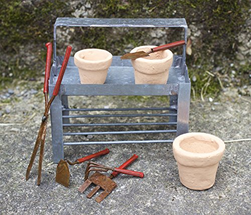Bundle of 3 Miniature Fairy Gardening Accessories - Mini Potting Bench, S/5 Tiny Hand Tools, and S/3 Miniature Clay Pots by jeremie