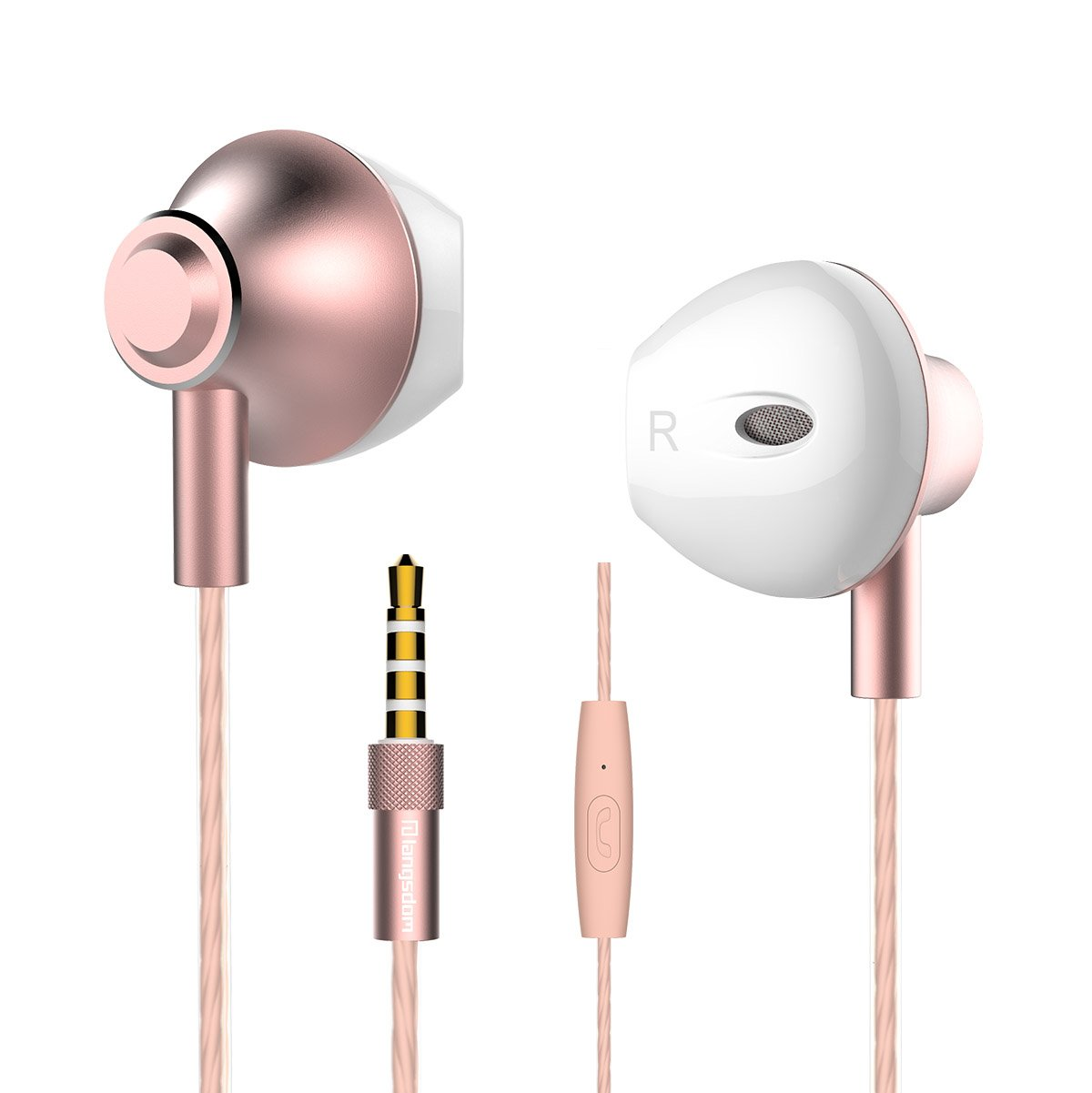 Personalized Rose Gold Earbuds,Langsdom F9 Headphones Powerful Bass Remote Control Microphone iOS, Samsung, Android,MP3 & MP4 Players (Woman,Case)
