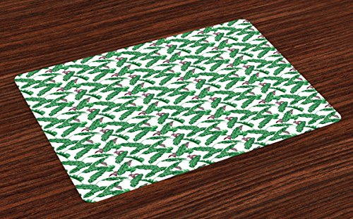 Banana Leaf Place Mats Set of 4 by Ambesonne, Lush Jungle Leafage Flowering Stems of Island Tree Hawaiian Aloha Pattern, Washable Placemats for Dining Room Kitchen Table Decoration, Green Plum White (Stem Banana Decoration)
