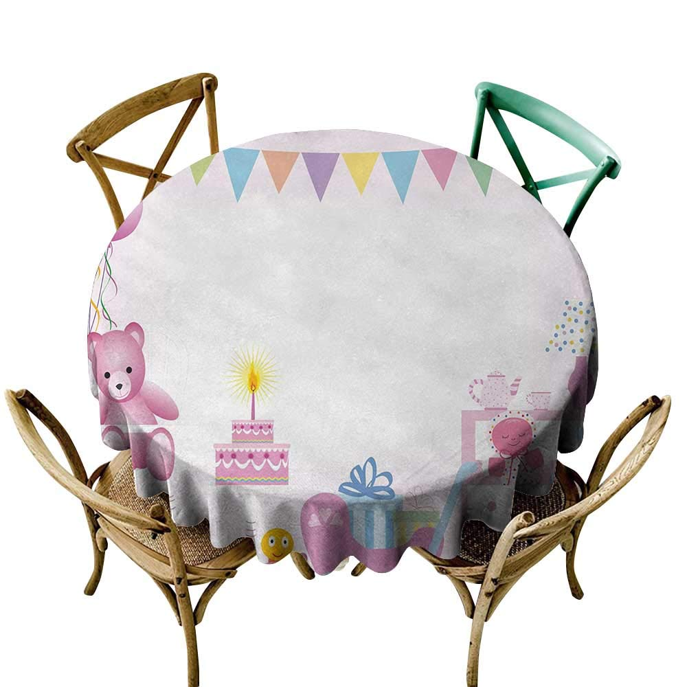 polyester round tablecloth 70 inch Kids Birthday,Baby Girl Birthday Celebration Party with Flags and Bears Cute Toys Print,Light Pink Great for Buffet Table, Parties, Holiday Dinner & More