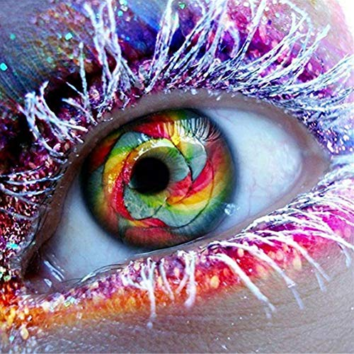 DIY Diamond Painting Full Colourful Round Rhinestone Cross Stitch Arts Craft Canvas Wall Decoration Colored Eyes and Silver Eyelashes 11.8x11.8in 1 Pack by Fairtie