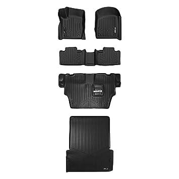 MAXLINER MAXFLOORMAT Floor Mats 3 Row Set Black for 2016-2018 Dodge Durango with 2nd Row Bucket Seats