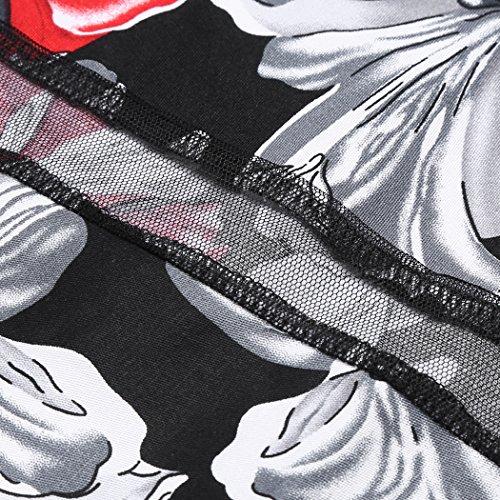 corte rosso corto trapezio a donna Abito a maniche Acevog qafY8F