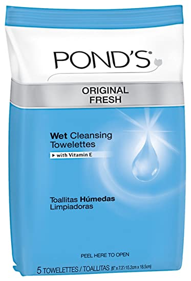 Ponds Wet Cleansing Towelettes, Original All Day Clean, 5 Count (Pack of 12