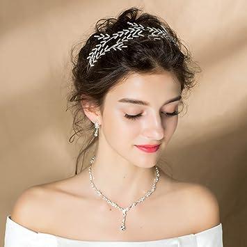 Amazon.com   20s Wide Leaf Wire Tiara Headband for Women Wedding Silver  Tone Crystal Princess Crown   Beauty 7607dc865b8a