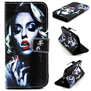 YW (TM) Magnetic PU Leather Flip Card Slots Hybrid Stand Case Cover For Apple iPhone 6 4.7 inch with One Piece Random Color Stlye Dress up Sticker Gift - Sexy Marilyn Monroe Smoking