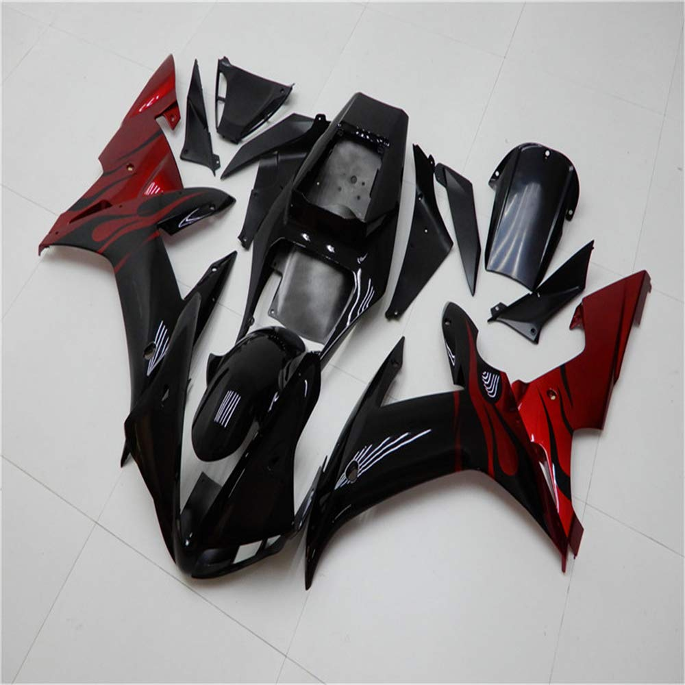 New Black Red Flames Fairing Fit for YAMAHA 2002 2003 YZF R1 Injection Mold ABS Plastics Aftermarket Bodywork Bodyframe 02 03