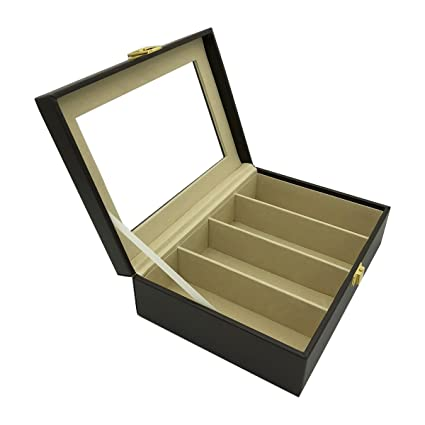 UnionPlus 4 Slot Eyeglass Sunglass Glasses Organizer Collector   Faux  Leather Storage Case Box (