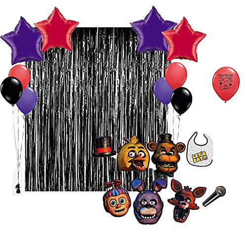 Five Nights At Freddy's 2 Foxy Costume (Five Nights at Freddys Birthday Party Photo Booth Props Balloons Decoration Kit)