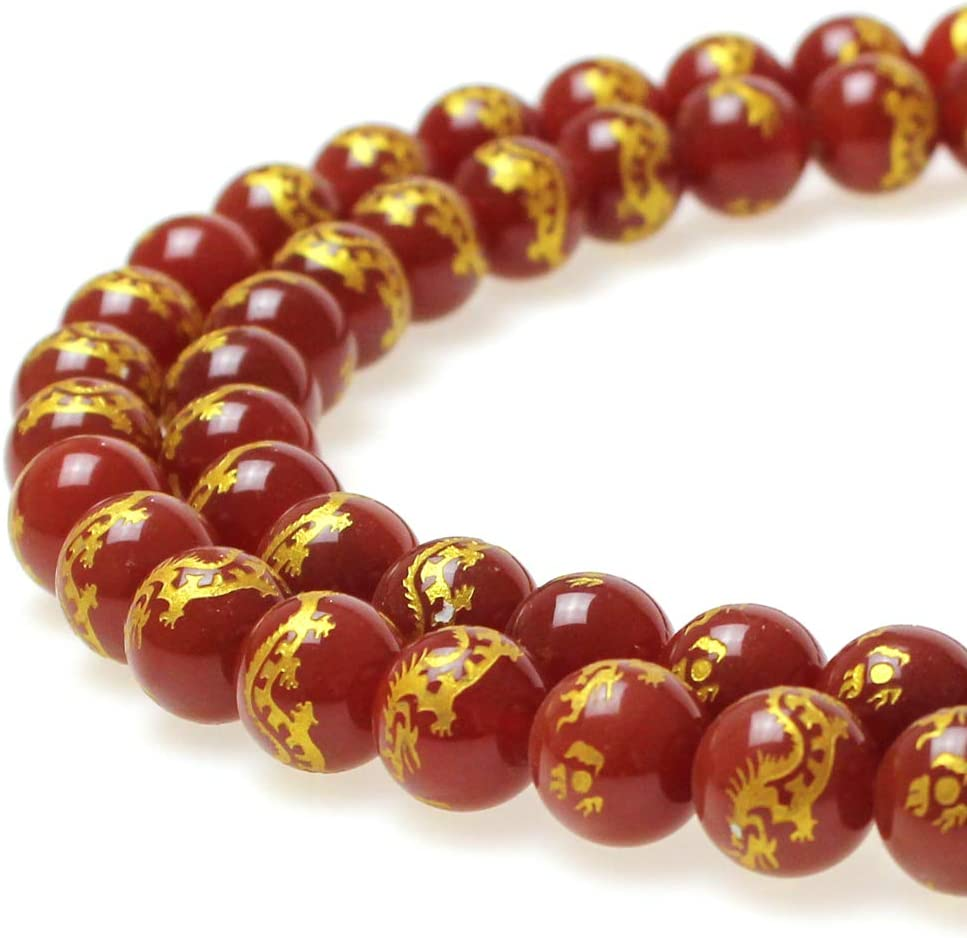 Amazon Com Jartc Rare Collection Natural Red Agate Carved Dragon Pattern Round Loose Beads For Jewelry Making Diy Bracelet Necklace 10mm