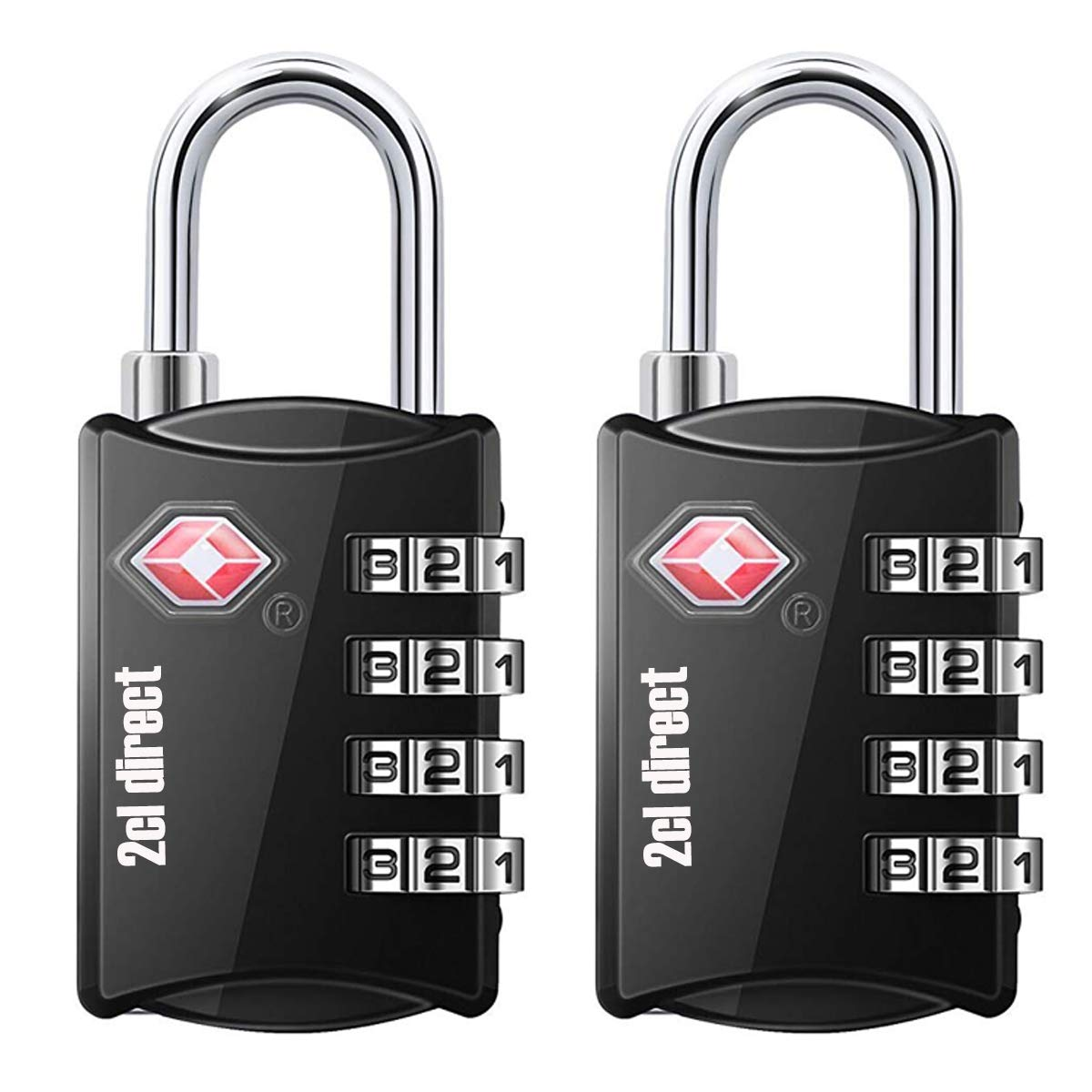 TSA Combination Lock Luggage Lock (2 Pack) - 4 Digit Steel Combination Padlock Set - Approved Travel Lock for Suitcases & Baggage, Black