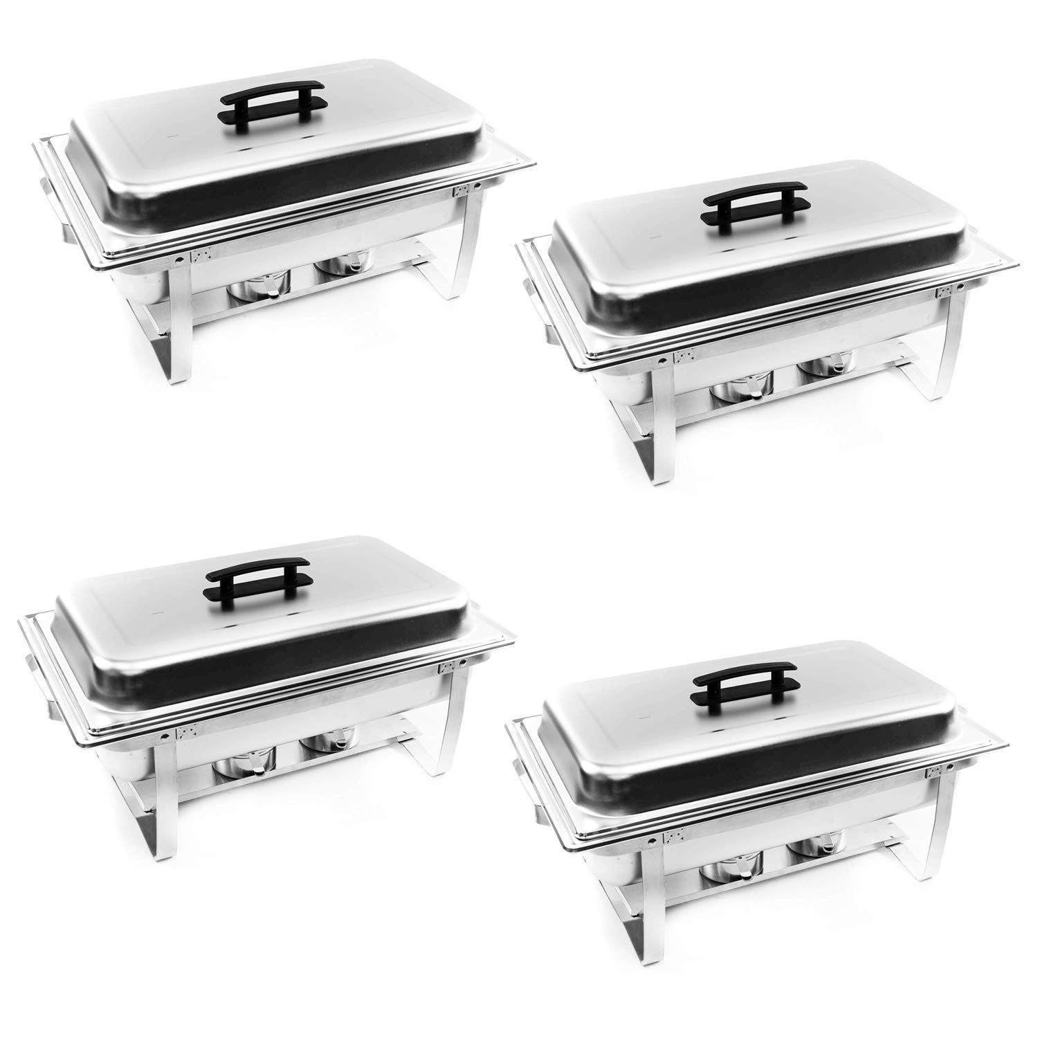 ALPHA LIVING 70014 4 Pack 8QT Chafing Dish High Grade Stainless Steel Chafer Complete Set, 8 QT,