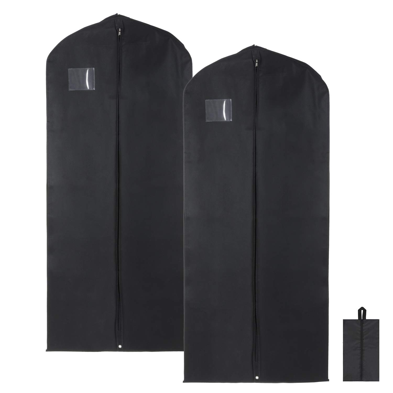 """Magicfly 42"""" Garment Bags with Transparent Zipper Pockets for Suits, Dance, Dress Dust Cover Travel Storage with Free Shoe Bag, Black, Pack of 2 MF437-Magicfly"""