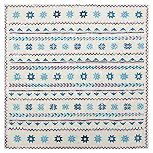 Turathna Cotton Handmade Cross Stitch Table Center Piece - Blue And Pink