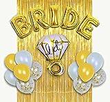 MM Design Bachelorette Party Decorations Bridal Shower kit - BRIDE Foil Balloon, Ring Foil Balloon, 12 latex balloons, Metallic Gold Foil Fringe Curtains