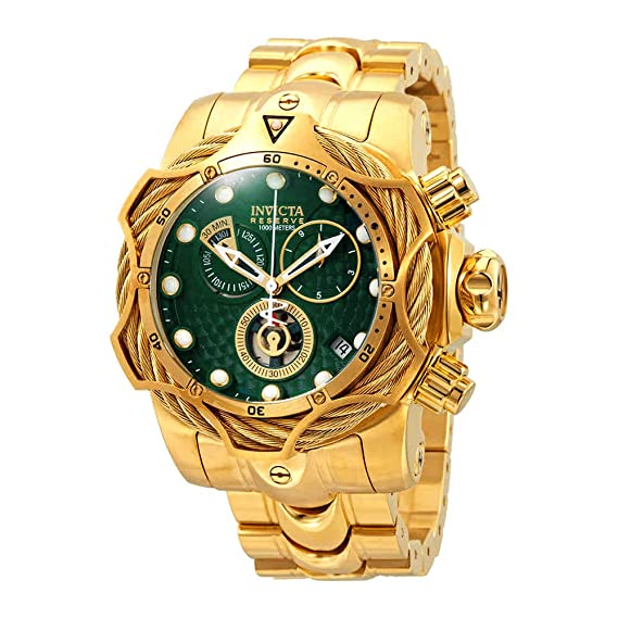bb55d44c0 Image Unavailable. Image not available for. Color  Invicta Reserve Green  Dial Men s Gold-Tone Chronograph Watch 27700