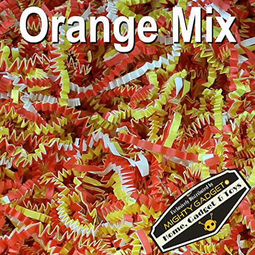 Mighty Gadget (R) 1 LB Orange Yellow White Mix Crinkle Cut Paper Shred Filler for Gift Wrapping & Basket Filling