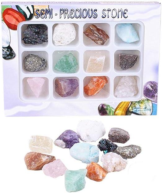 LQKYWNA Gems Rock Mineral Specimen Juguetes Educativos con Caja De Colección Gran Regalo De Ciencia para Entusiastas De La Mineralogía Y La Geología De Cualquier Edad: Amazon.es: Hogar