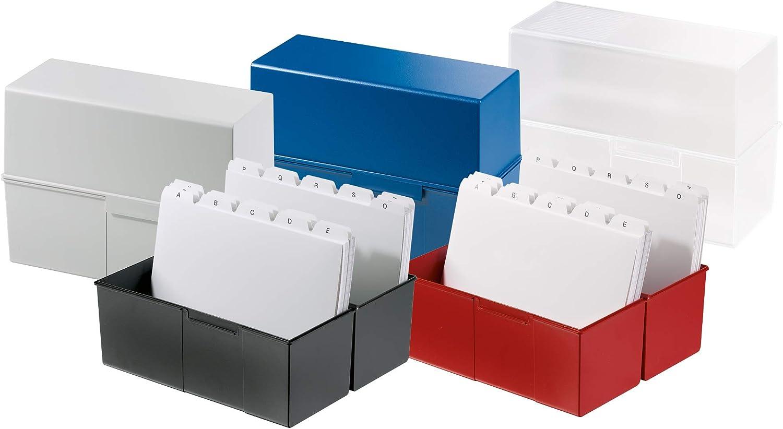 HAN 975-11 Karteibox DIN A5 quer lichtgrau- weitere Farben ausw/ählbar attraktives Design f/ür max 500 Karten mit Stahlscharnier Innovatives 3, lichtgrau