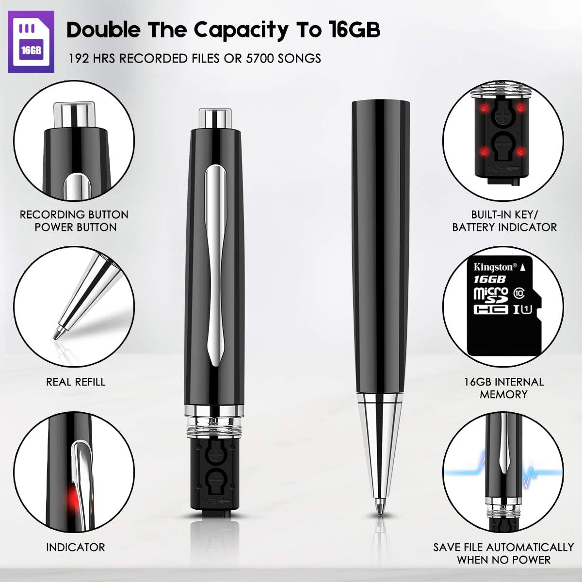 Aomago 16GB Digital Voice Recorder Pen MP3 Audio Recording Device for Lectures Meetings Mini Portable Voice Activated Recorder with Playback USB