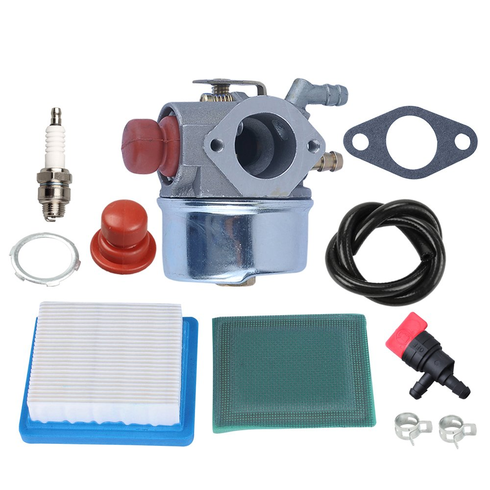 Panari 640004 640117B Carburetor + Air Filter Tune Up Kit for Tecumseh OHH45 OHH50 OHH55 OHH60 OHH65 Engine Lawn Mower 640014 640025