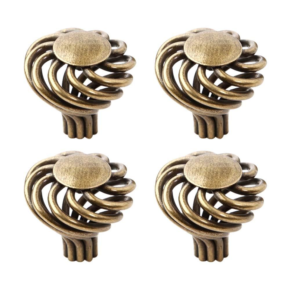 10 Pcs Bronze Round Ball Furniture Birdcage Pulls Knobs Children Bedroom Cabinet Drawer Handles