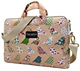 Canvaslove Pink Bird Pattern Canvas Laptop Shoulder Messenger Bag Case Sleeve Briefcase for 14 Inch 14.0 Inch 15 Inch 15.6 Inch Laptop