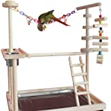 """QBLEEV Parrot Wood Stand Perch Bird Playstand Playground Playgym Playpen Ladder with Toys Exercise Play (Include a Tray)(19""""L13""""W21""""H)"""