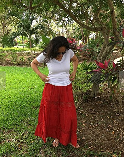 Mexican red maxi long skirt by Italivii Shop