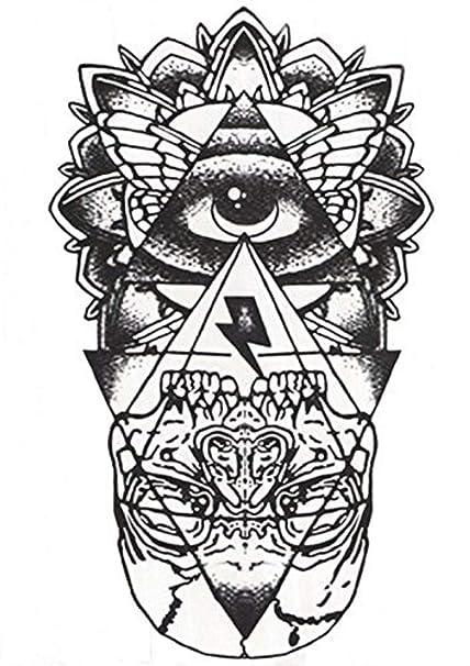 Flash tatuaje negro esotérico ojo pirámide cráneo egipto temporal ...