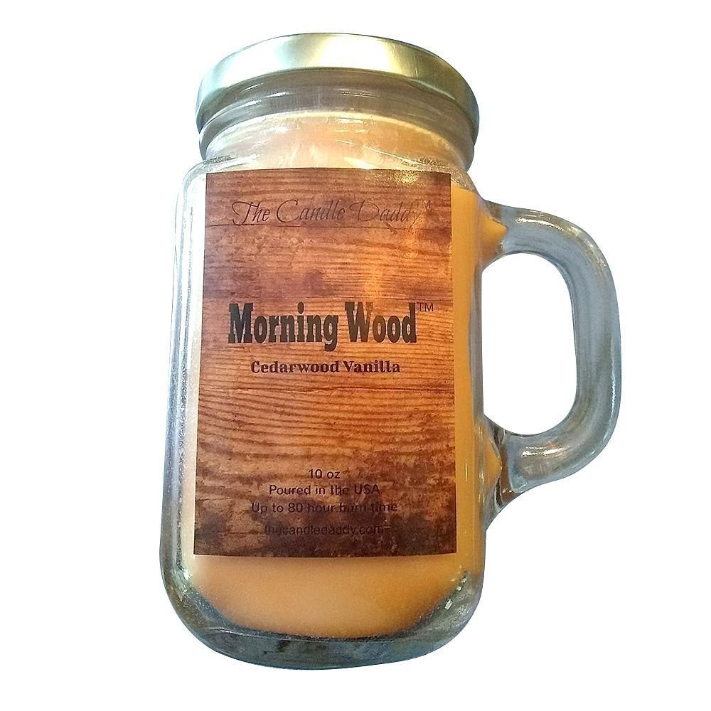 MORNING WOOD- Cedarwood Vanilla Scent Candle- 10 oz - 80 hour burn - Perfect Funny Gift - Poured in small batches in USA