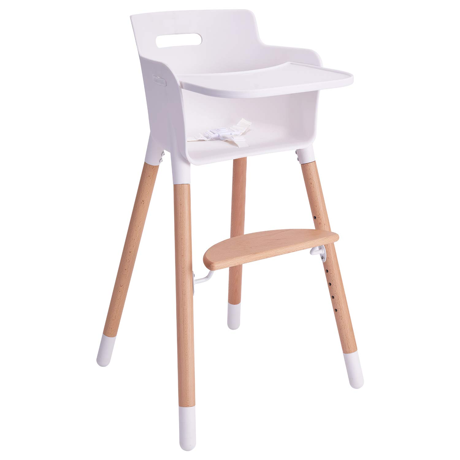 HAN-MM Baby High Chair, Wooden High Chair with Removable Tray and Adjustable Legs for Baby/Infants/Toddlers