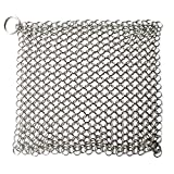 niceEshop(TM) 8x6 Inch Stainless Steel Cast Iron Chainmail Scrubber with Ring (Silver)