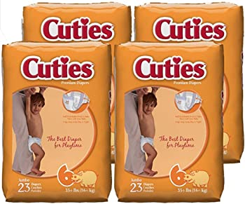 4-Pack Cuties Baby Size 6 Diapers 23-Count