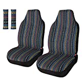 Copap Universal Stripe Colorful 4pc Front Seat Covers Saddle Blanket Baja Bucket Seat Cover with Seat-Belt Pad Protectors for Car,...