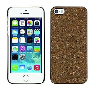 KOKO CASE / Apple Iphone 5 / 5S / pared patrón de plantas de diseño deja marrón / Delgado Negro Plástico caso cubierta Shell Armor Funda Case Cover