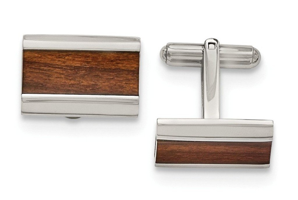 Stainless Steel Wood Inlay Enameled Rectangle Cuff Links